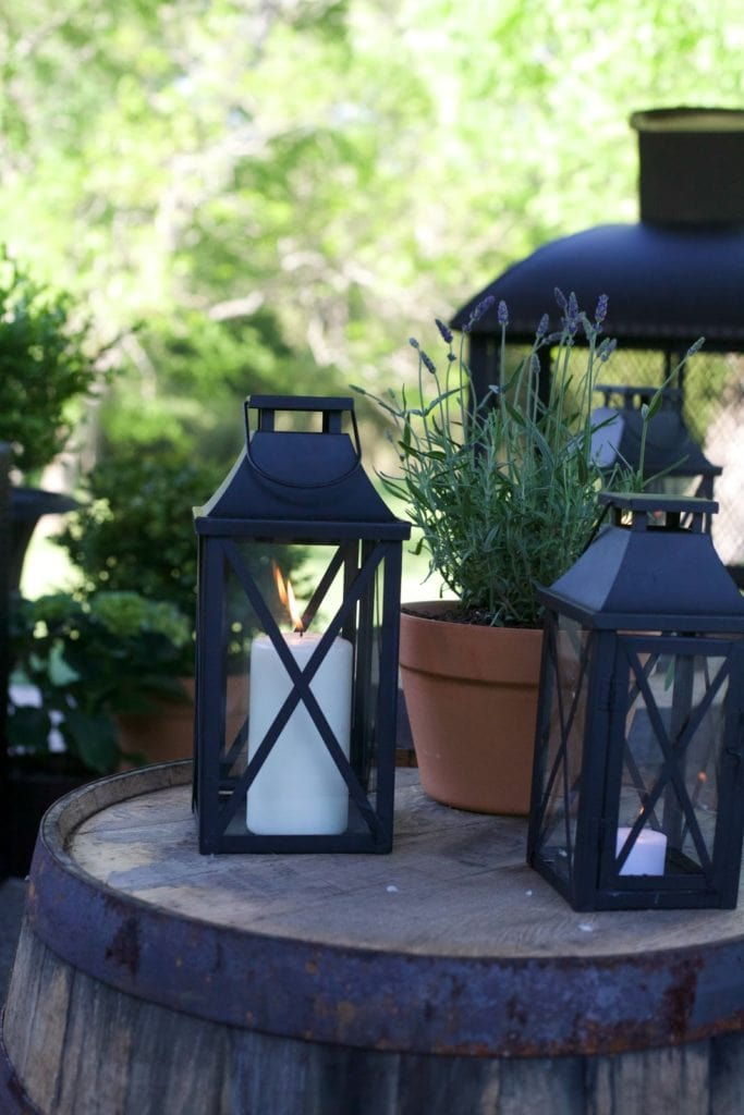Lanterns close up on patio