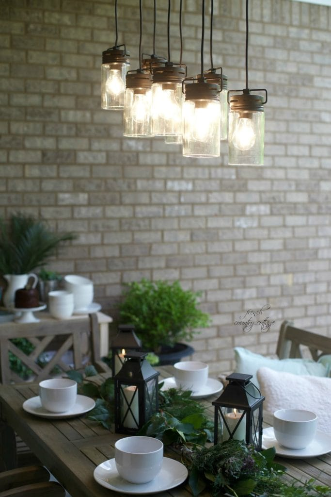Dining table with lanterns