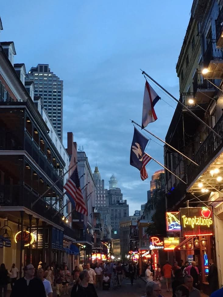 Bourbon Street in New Orleans at night