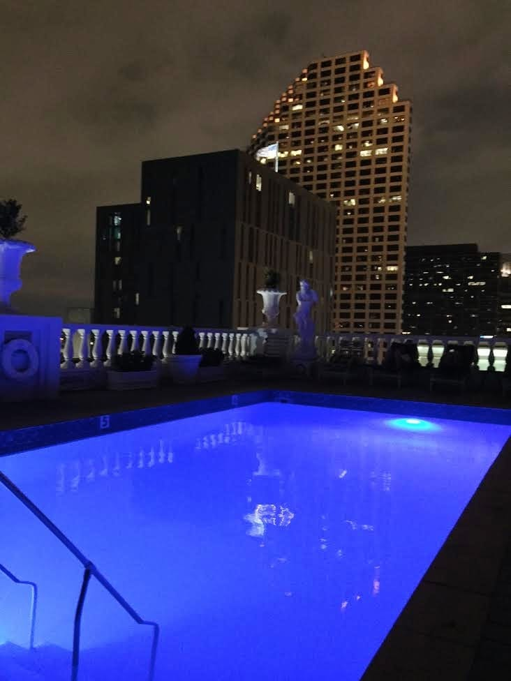 Rooftop pool at night in New Orleans