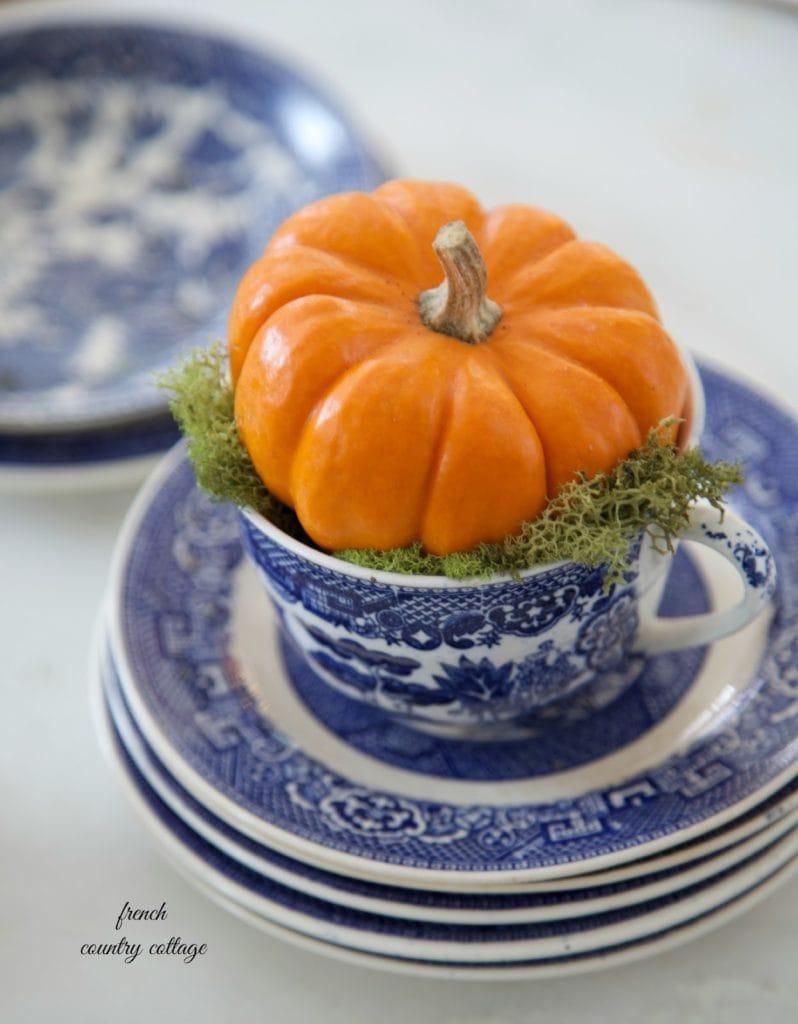 autumn vignette and orange pumpkin