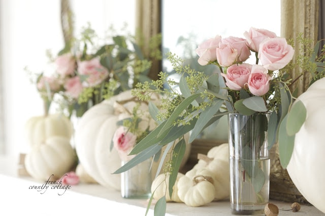 autumn mantel with flowers