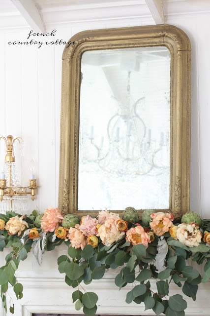 apricot flowers fall mantel