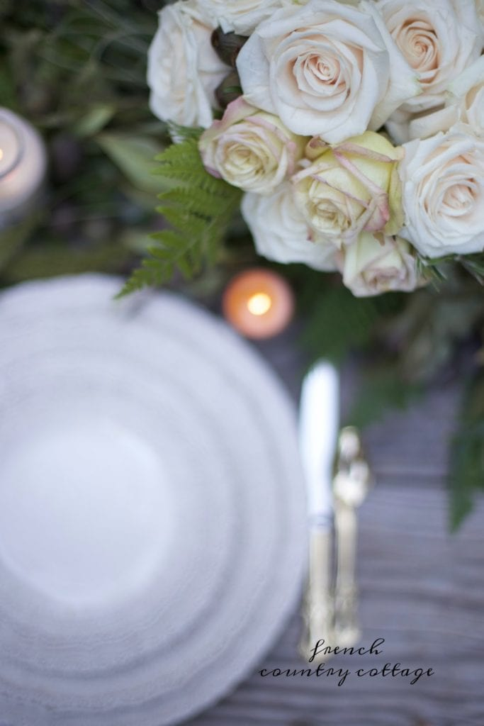 table setting with roses close up