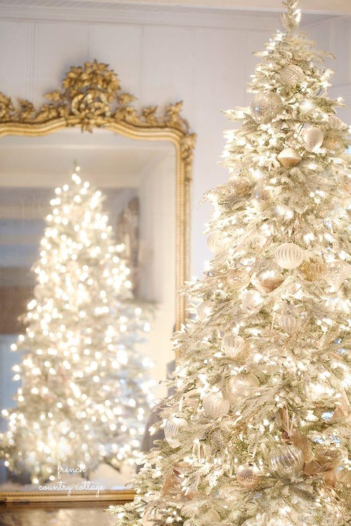 Gold mirror reflecting Christmas Tree