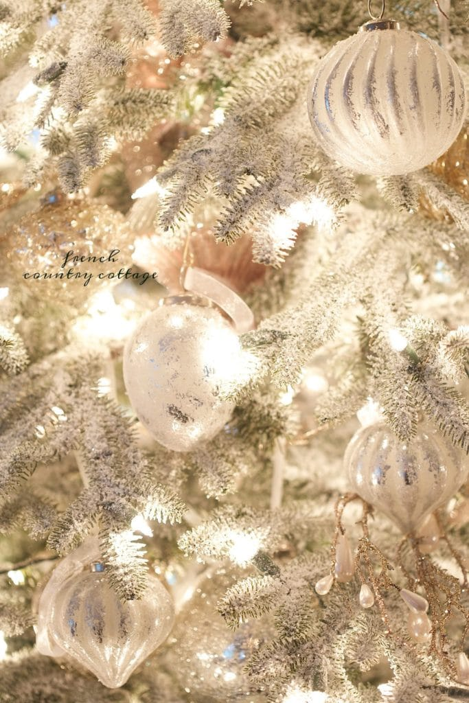Frosted Christmas tree with french ornaments