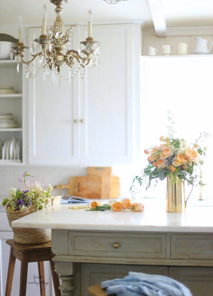 fresh flower in french cottage kitchen