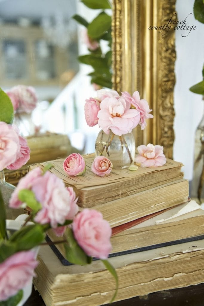 Blush camellia blooms with antique books and gold mirror on mantel for spring