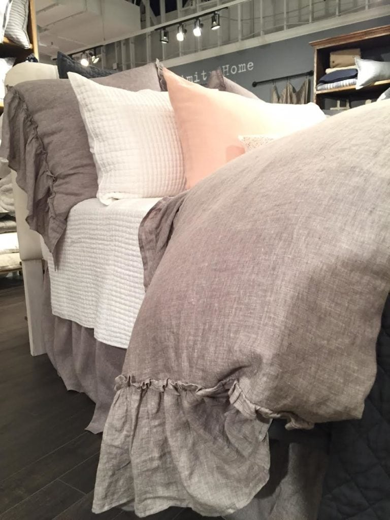 linen duvet with ruffles and raw edges on bed