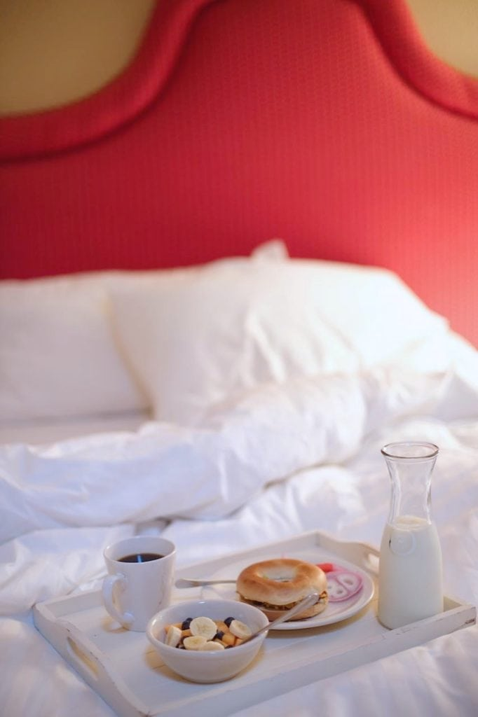 breakfast in bed at inn
