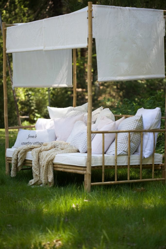 pillows on daybed in yard