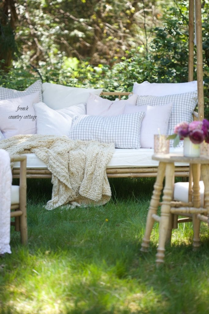 chunky throw on daybed outdoors