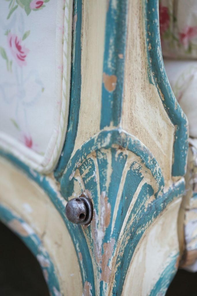 french antique daybed carved detail close up