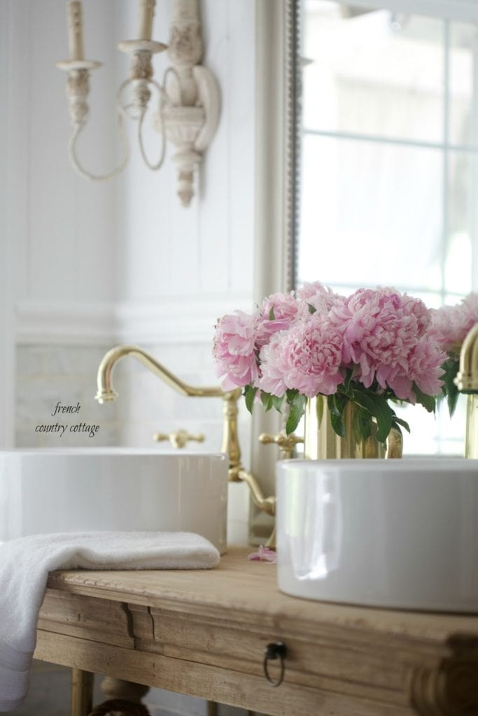custom vanity in french bathroom renovation