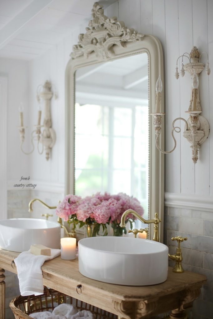 sinks and faucets with marble in french cottage bathroom