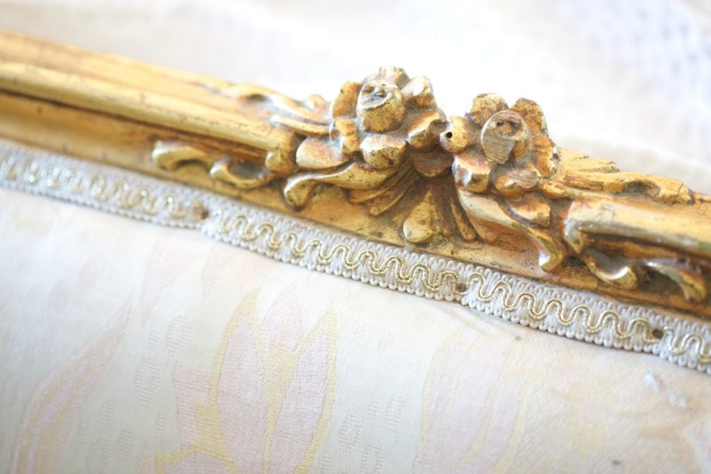 close up detail of vintage french settee