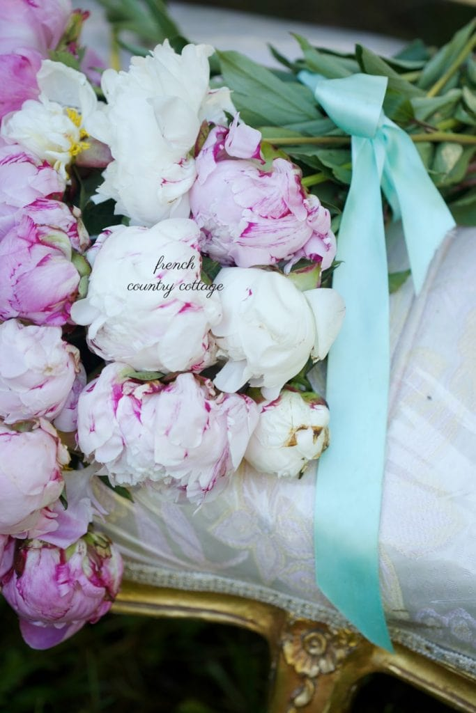 pink peonies on french settee