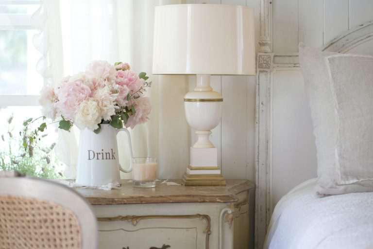 French cottage style bedroom blush lamp