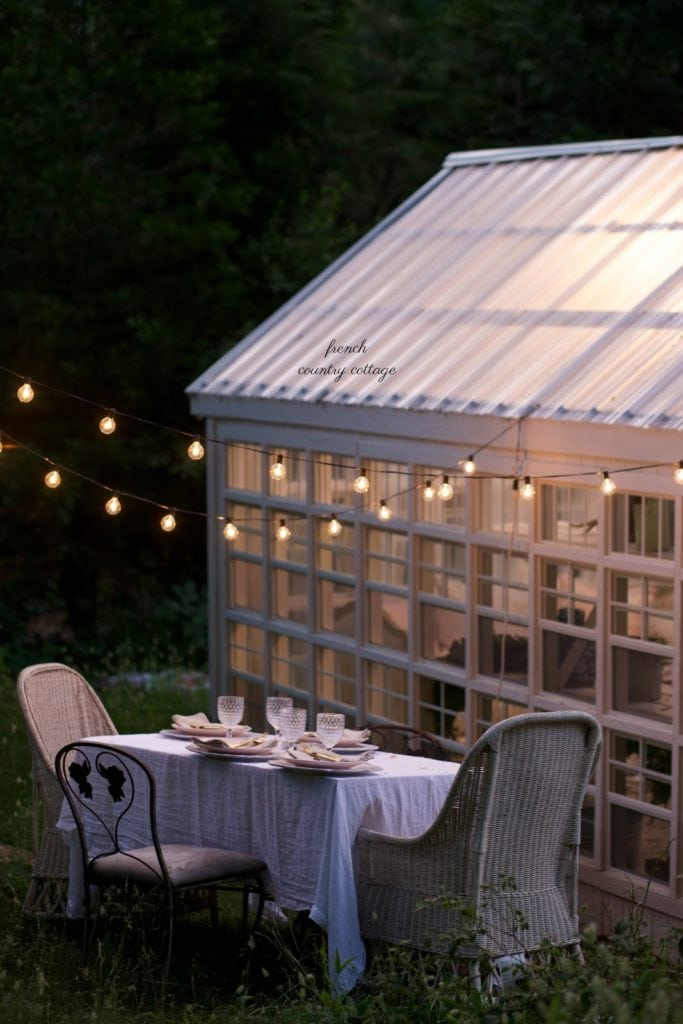 dining table outside she shed