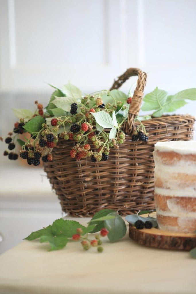 basket full of fresh picked blackberries in kitchen