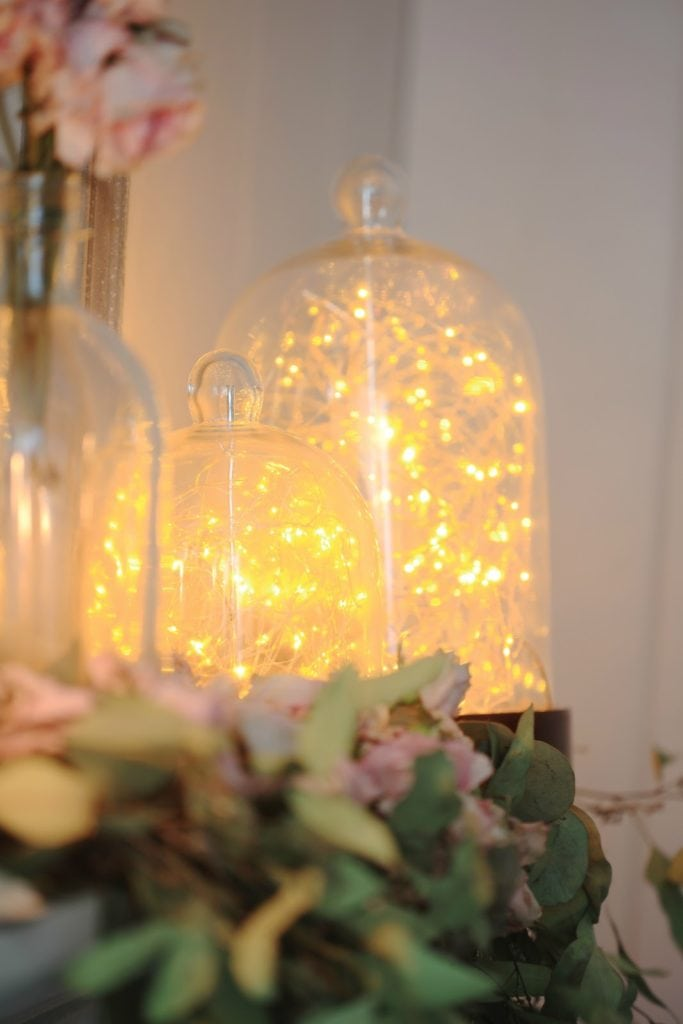 twinkle lights on mantel