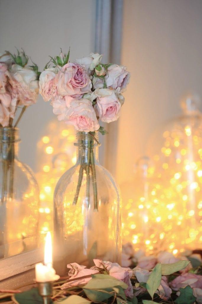 fairy twinkle lights on mantel