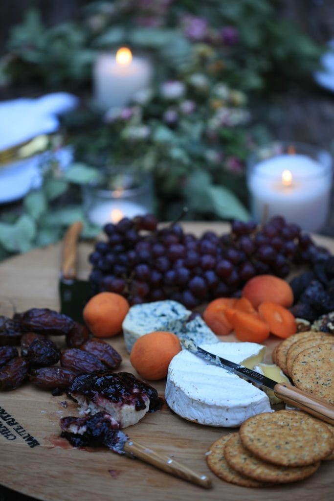 wine barrel board with cheese