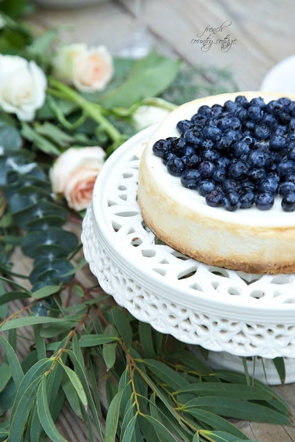 blueberry topped cheesecake on table