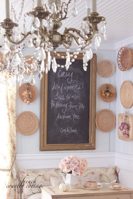 wicker trays on the wall