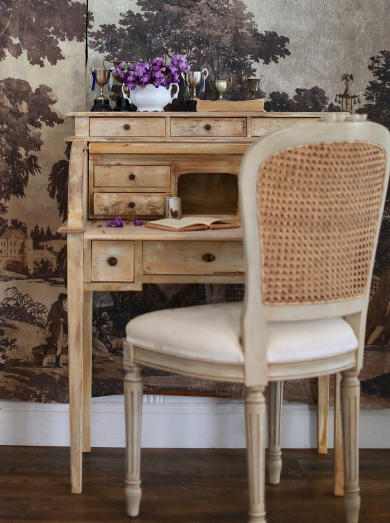 vintage style cane chair and desk