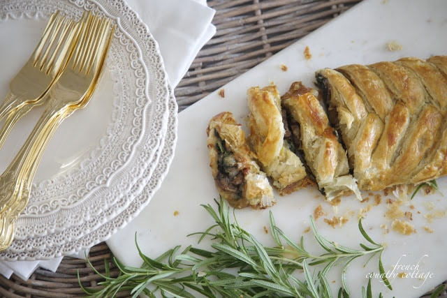 spinach and mushroom braided appetizer for holiday