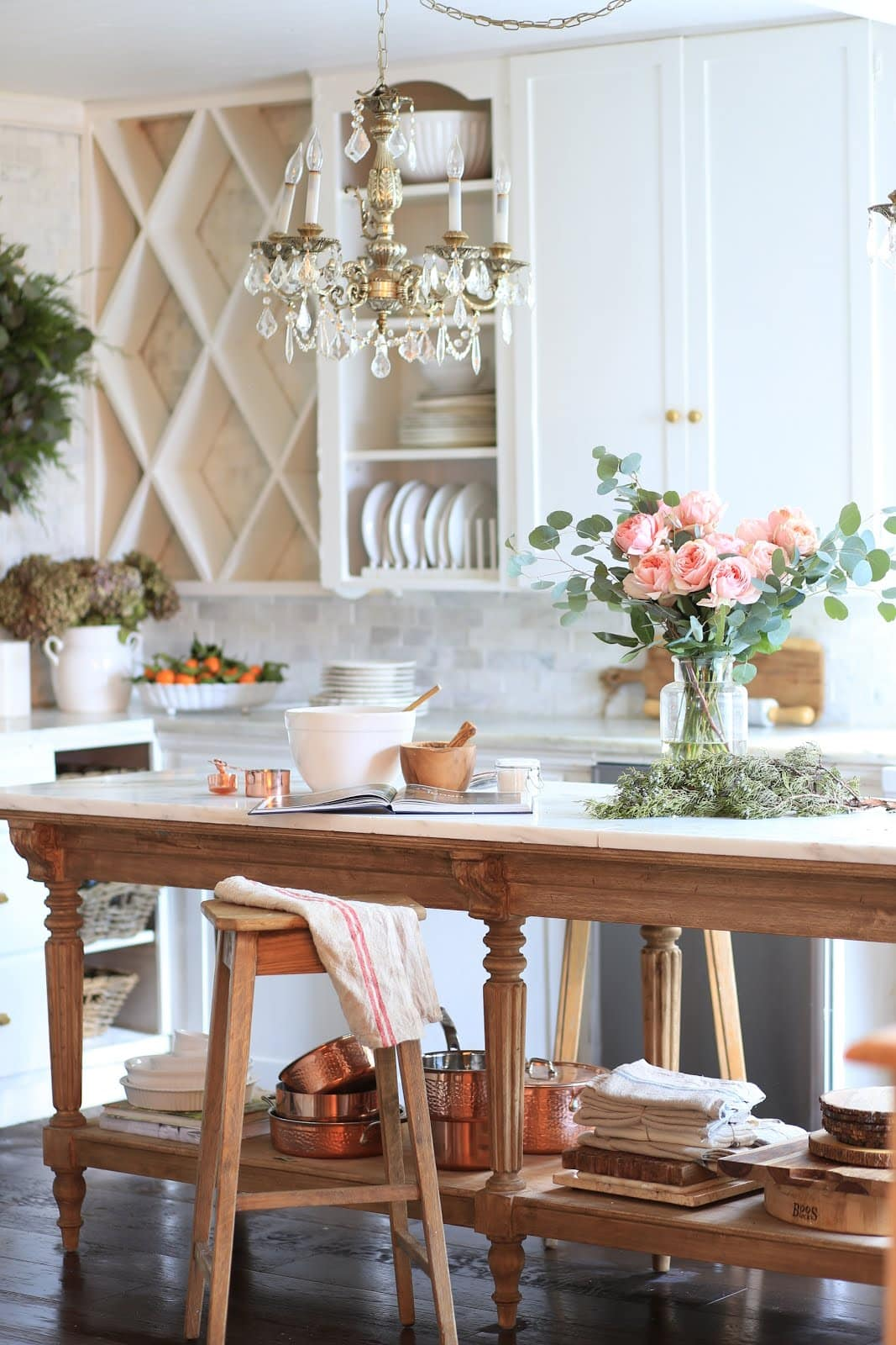 Vintage style kitchen island French Country Cottage