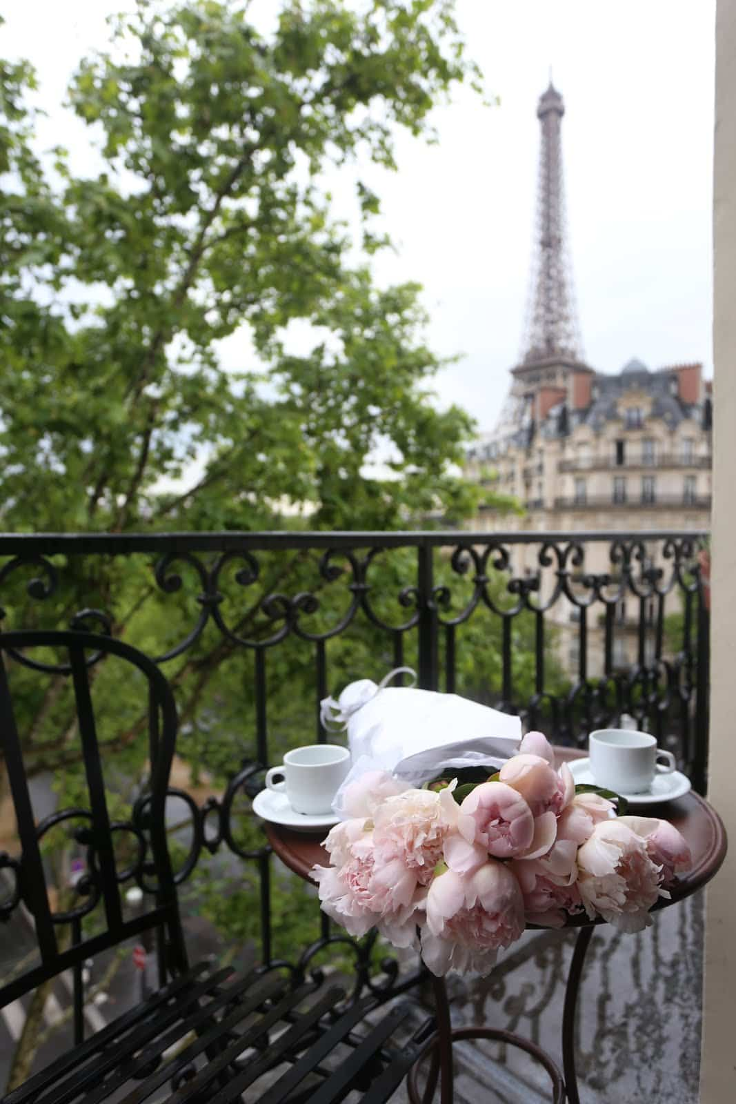 Peonies on a table in Paris