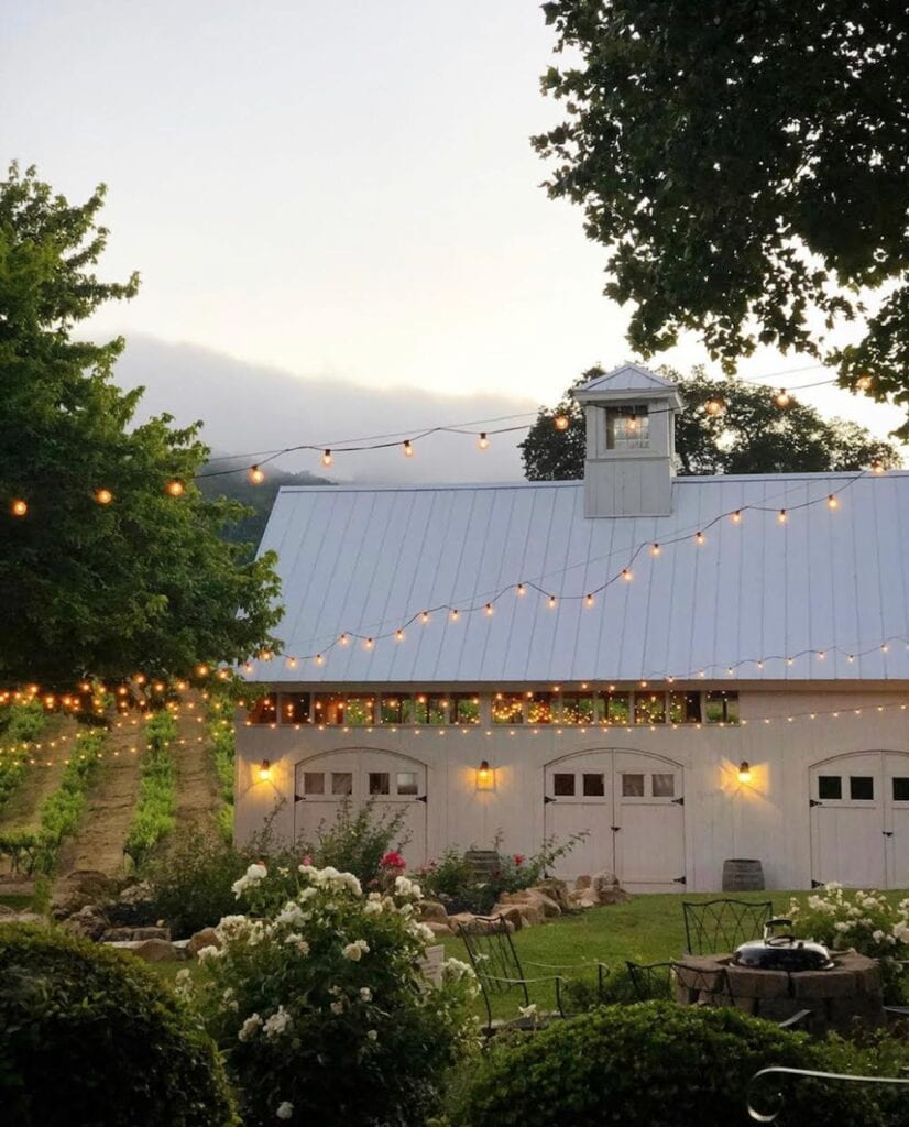 Barn with twinkle lights in wine country