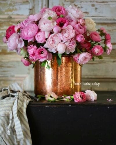 Copper pot with peonies
