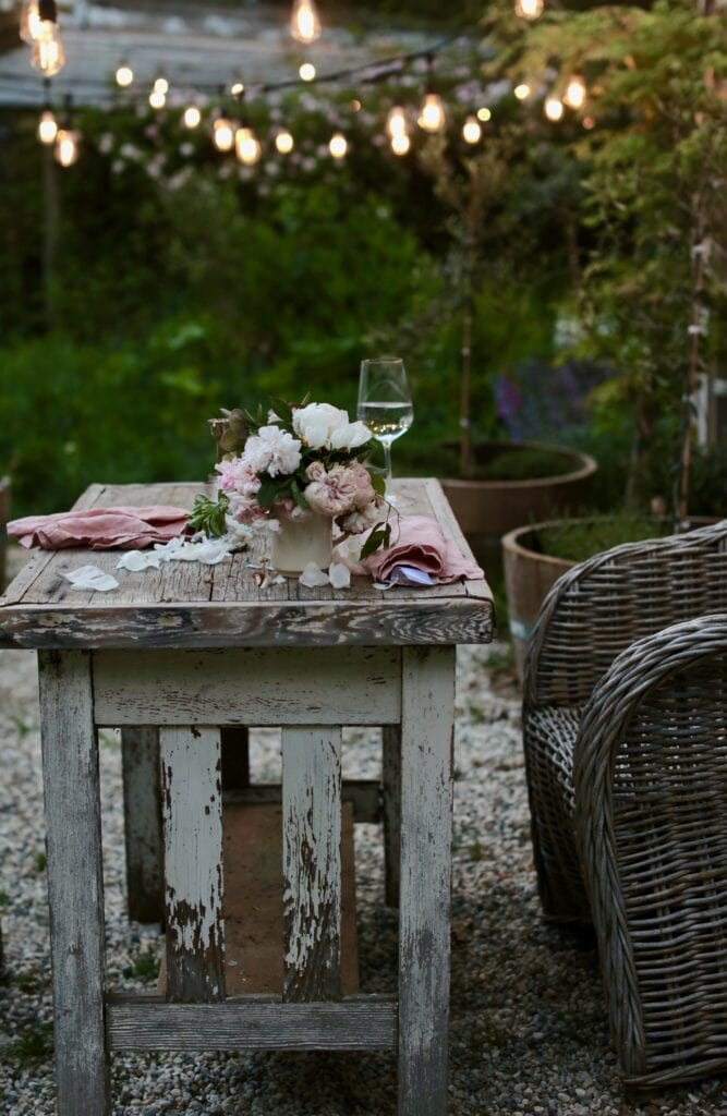 chippy table in the garden