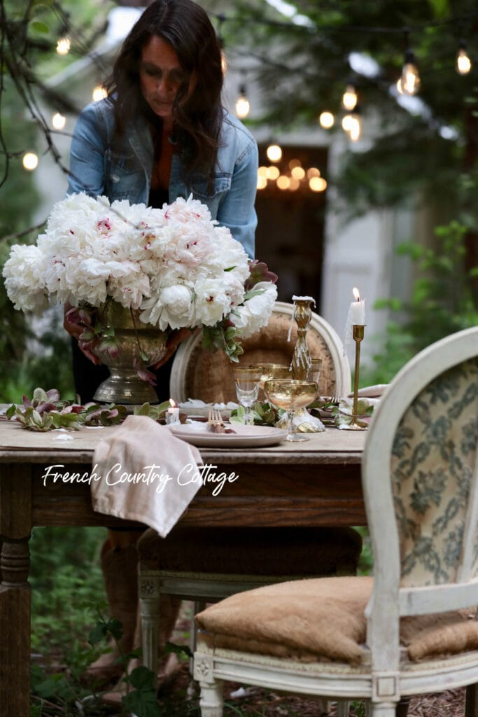 Setting a table in the woods