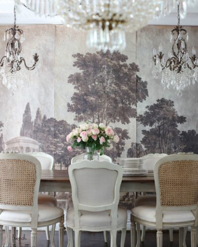 French wall mural in dining room