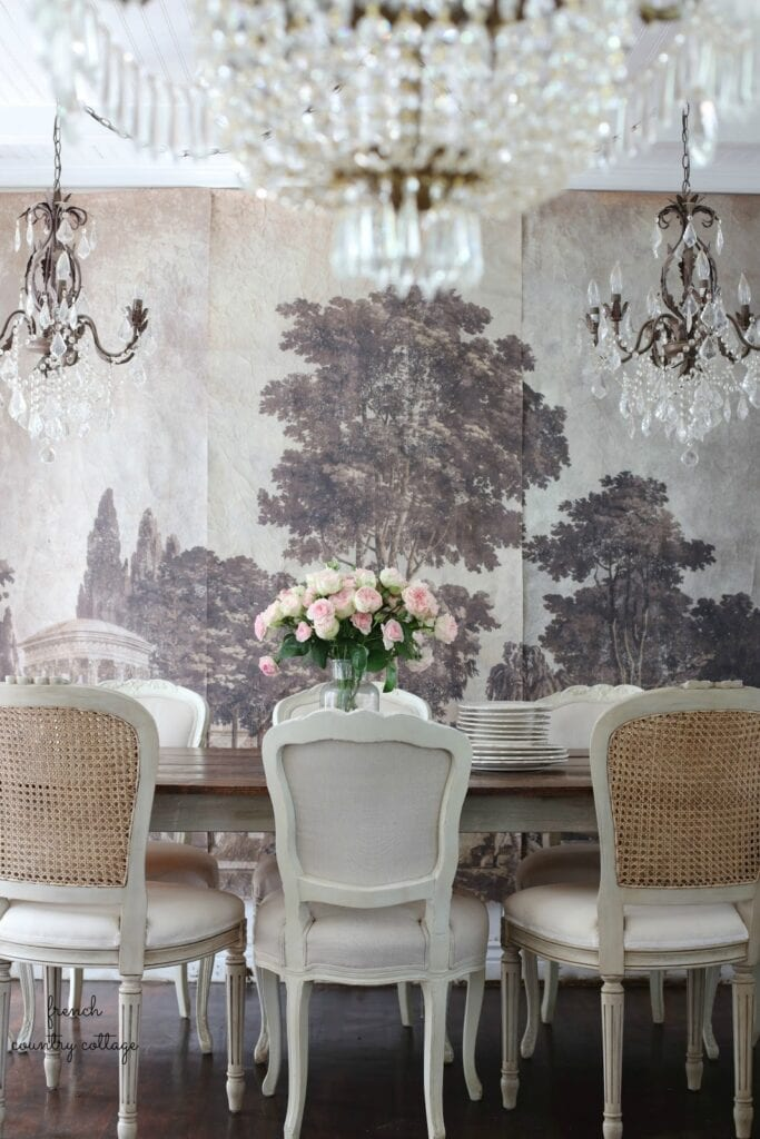 French wall mural canvas in dining room