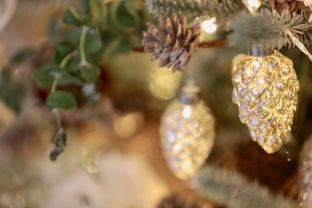 Close up of pinecone garland