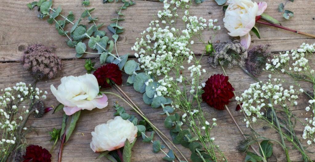 Fresh flowers flatlay