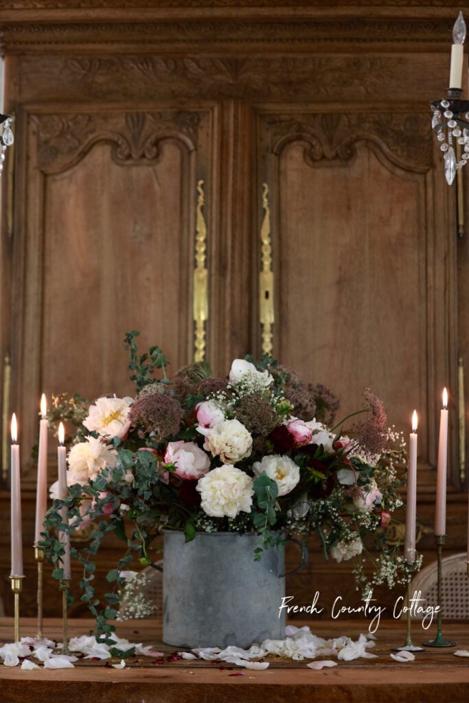Armoire with flower arrangement