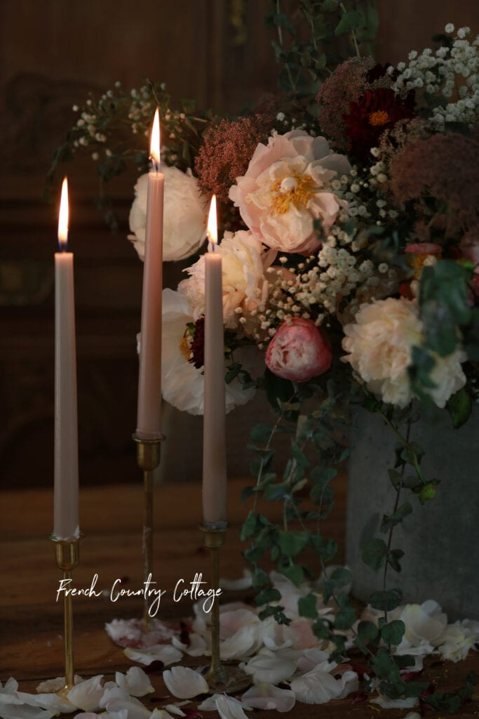 Candles and flowers on the table