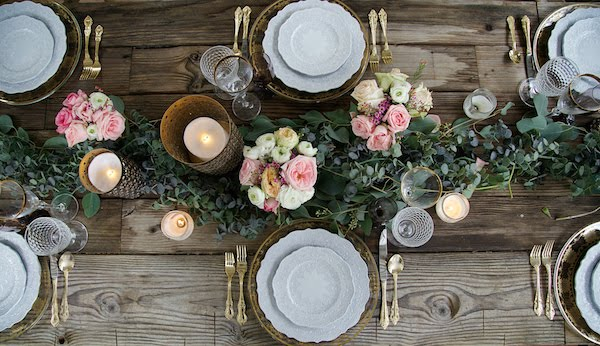 Overhead photo of table setting