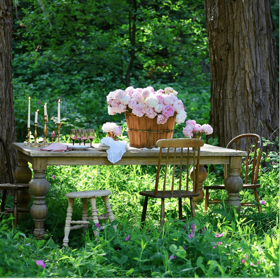 Farmhouse table with peonies