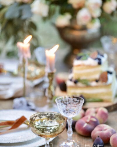 Vintage and modern stemware on table with fruit