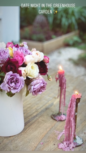 Roses and drippy candles