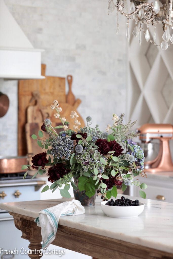 Summer foraged floral arrangement in the kitchen