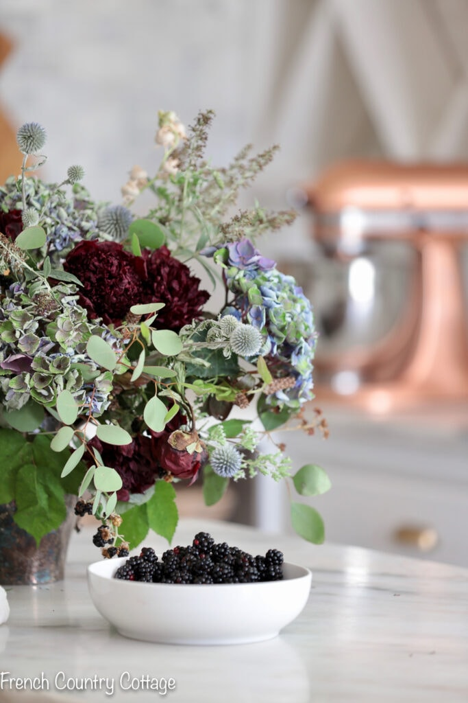 DIY floral arrangement and black berries
