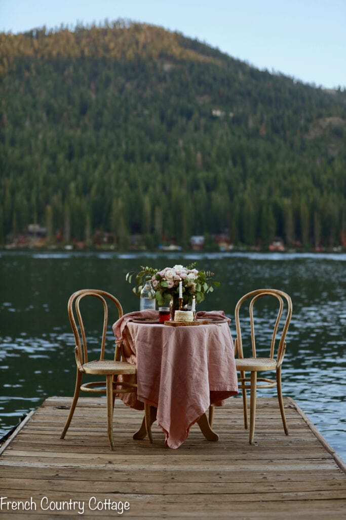 Table on dock